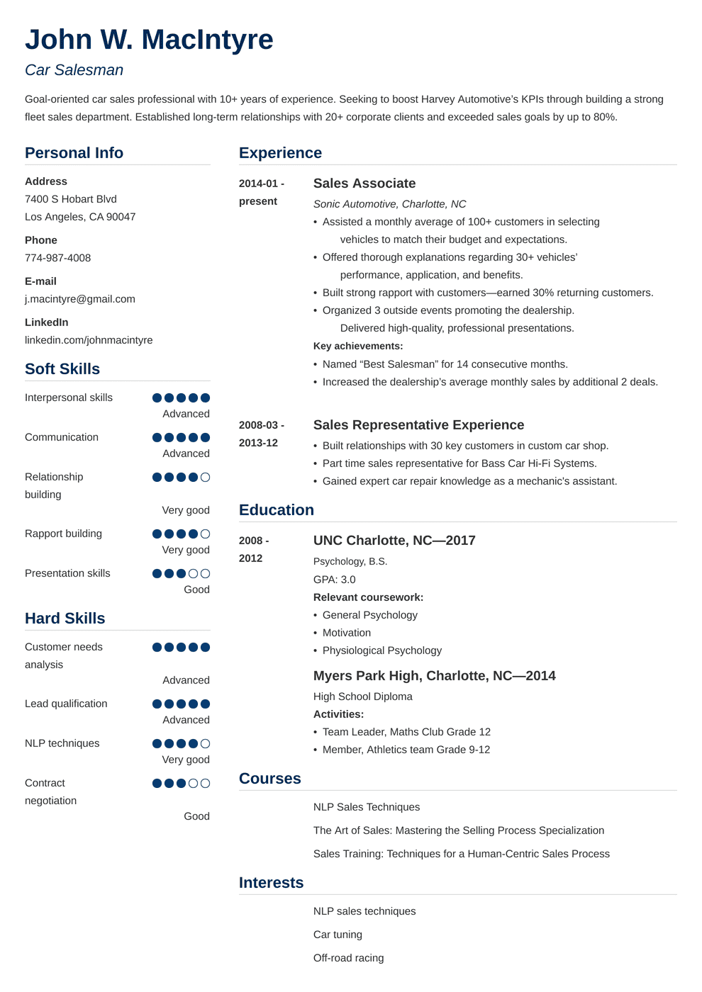 Car Salesman Resume Sample And Writing Guide 20 Examples