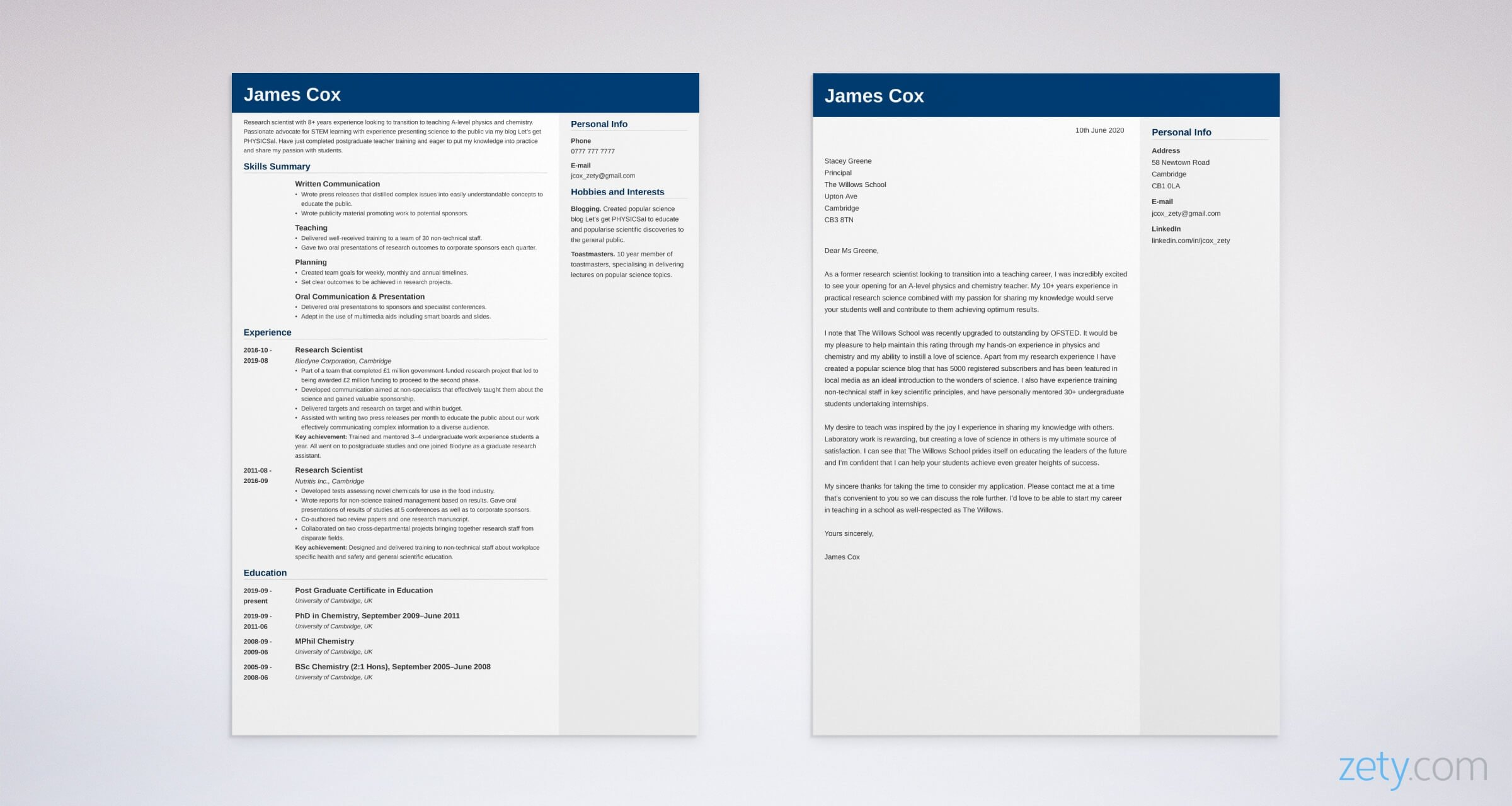 career change cv and cover letter set