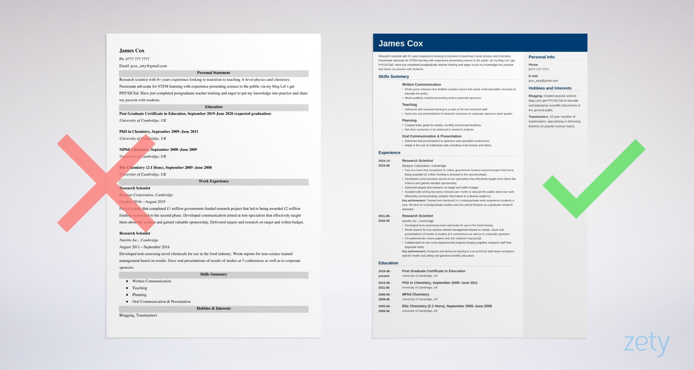 Career change cv templates