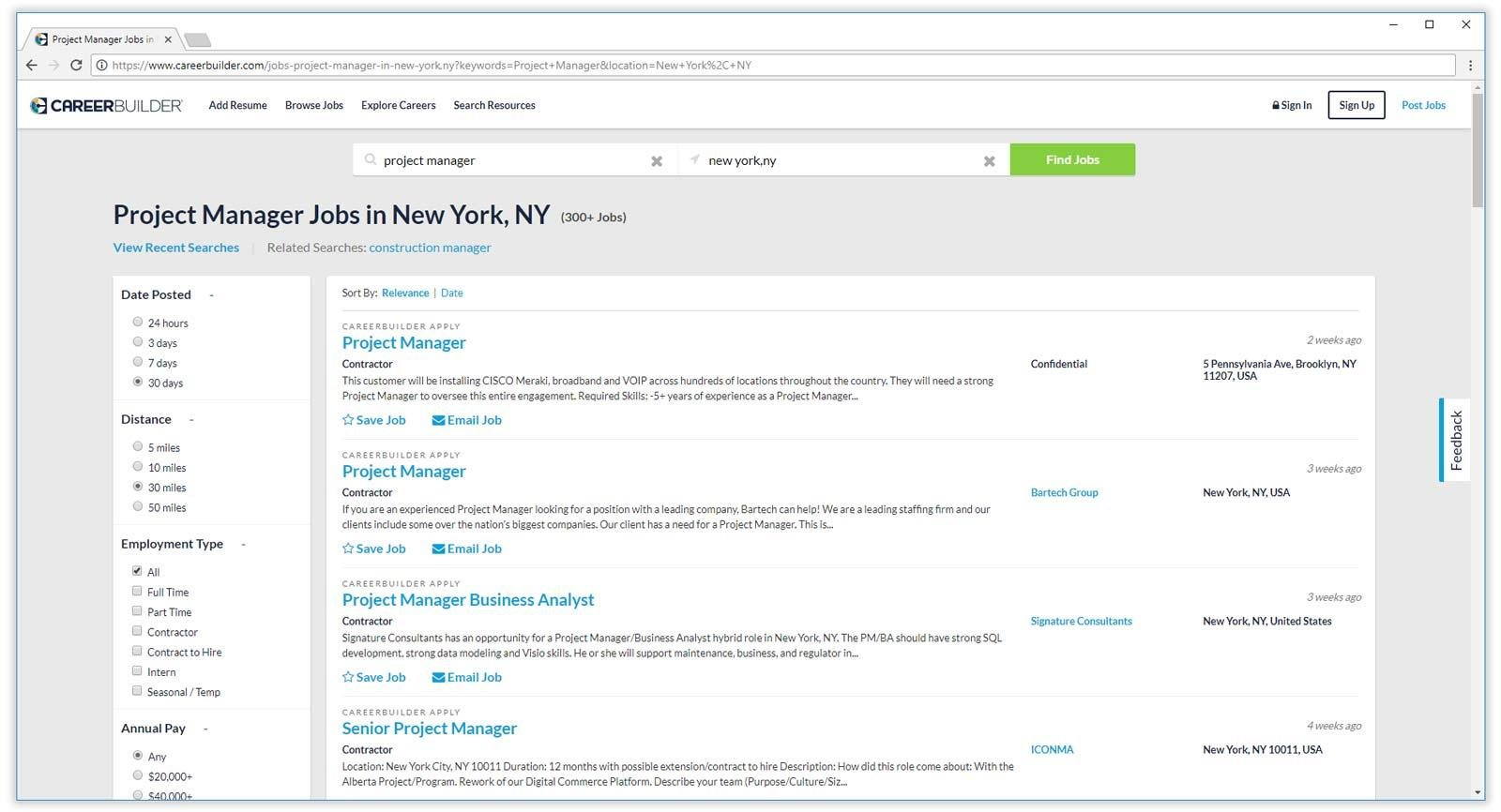 careerbuilder job search results