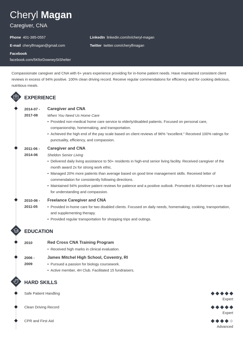 caregiver resume example template diamond