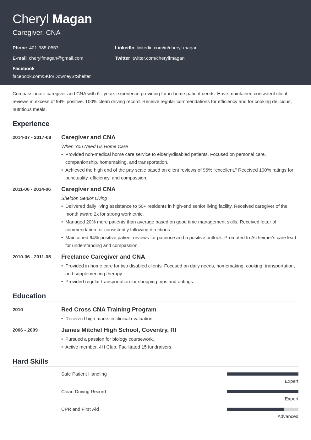 caregiver resume example template influx