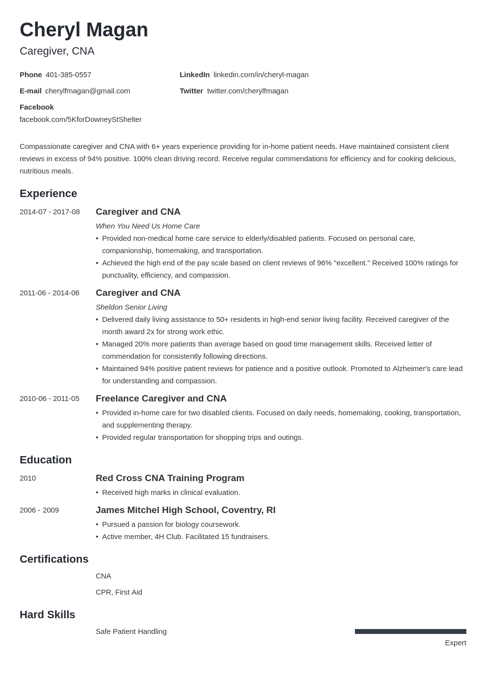 caregiver resume example template minimo