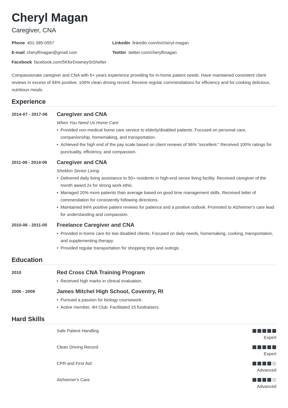 caregiver resume example template nanica