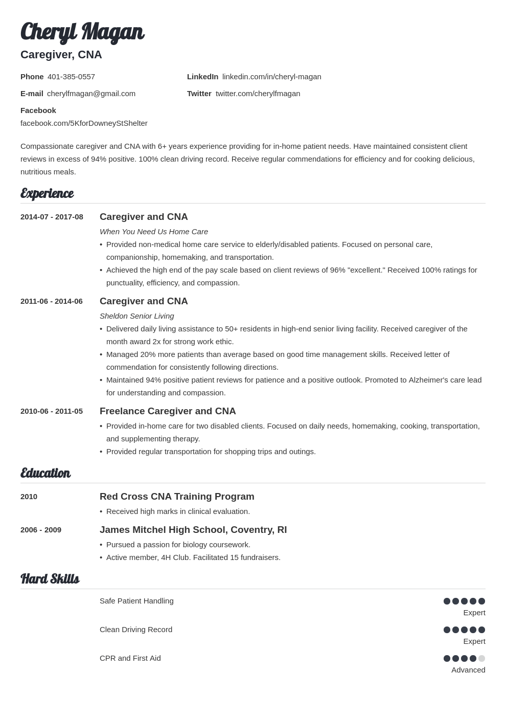 caregiver resume example template valera