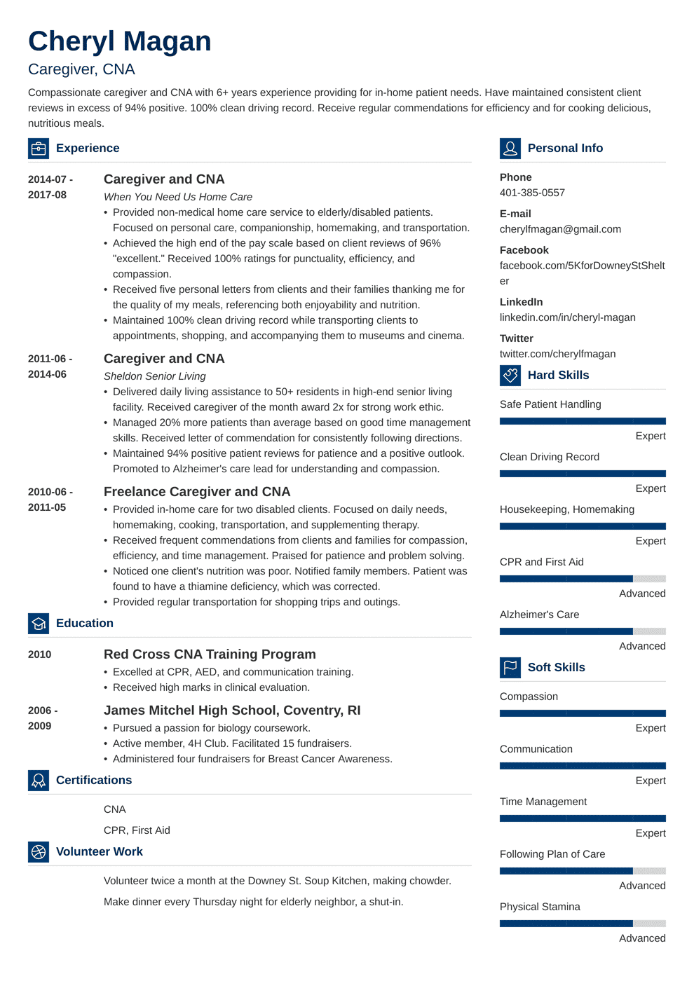 in home caregiver resumes