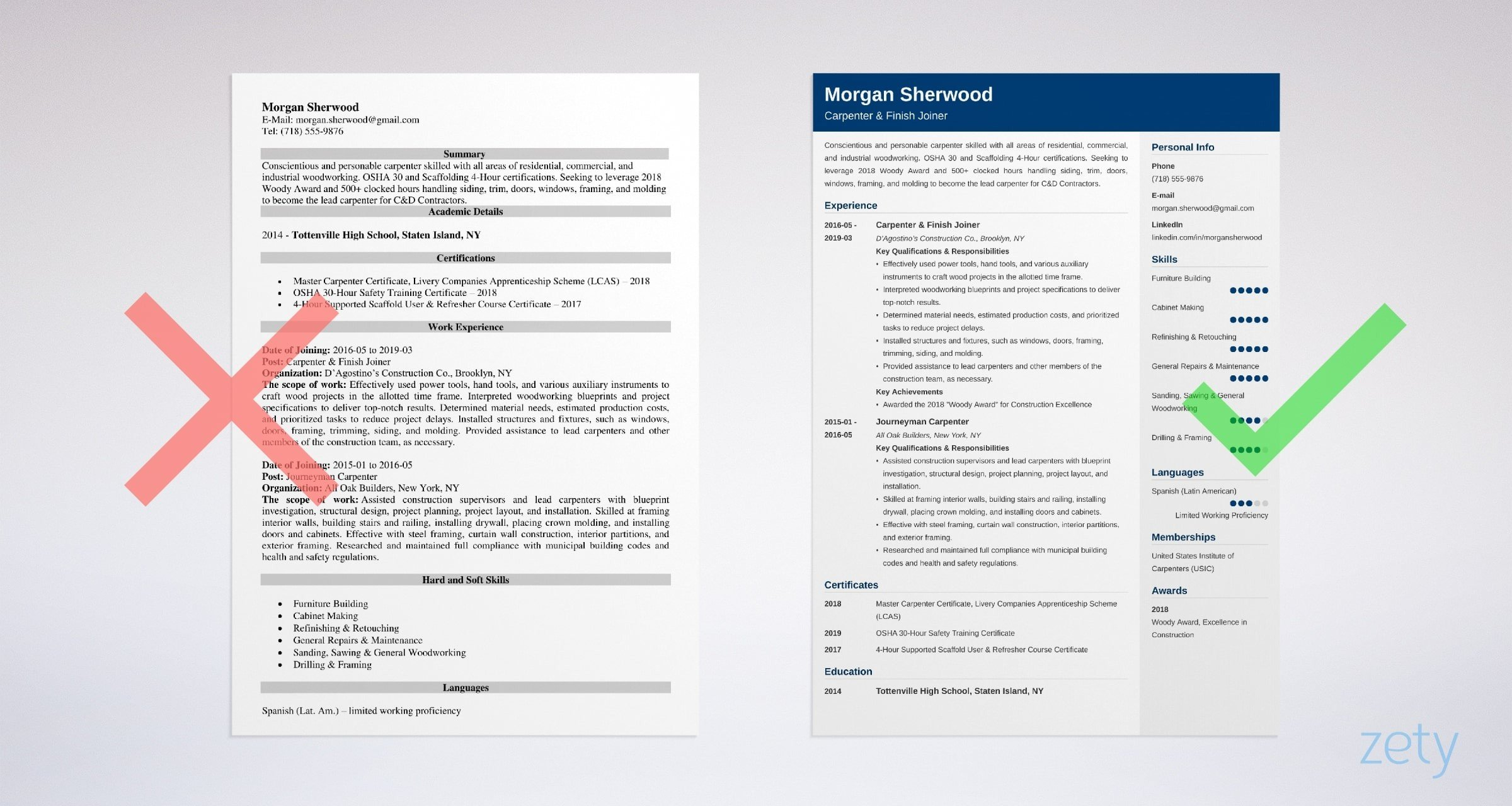 carpenter resume examples  job description  skills  template
