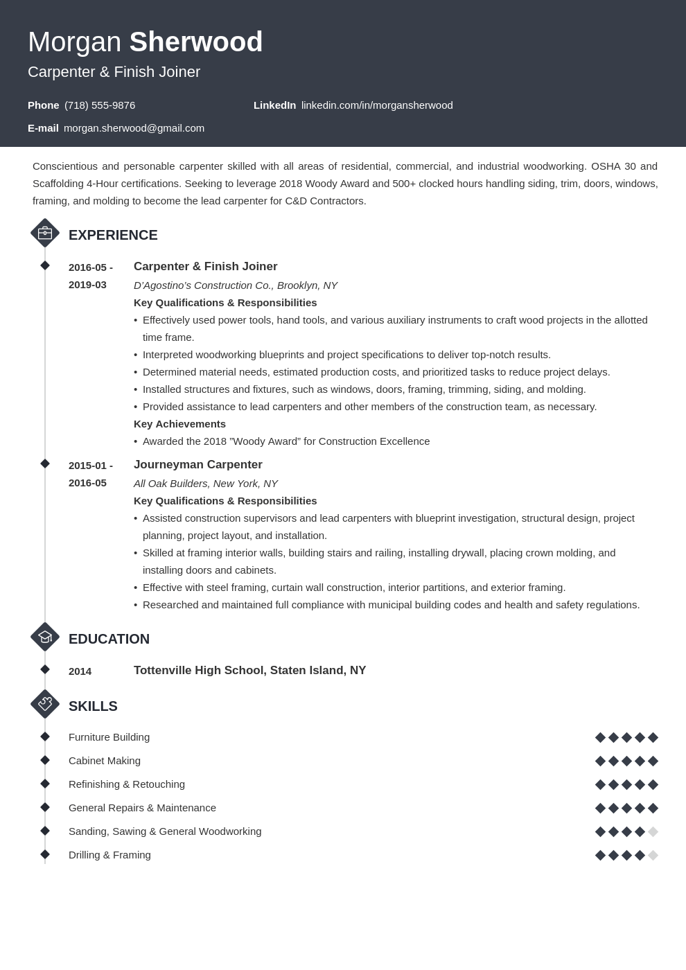 carpenter resume example template diamond