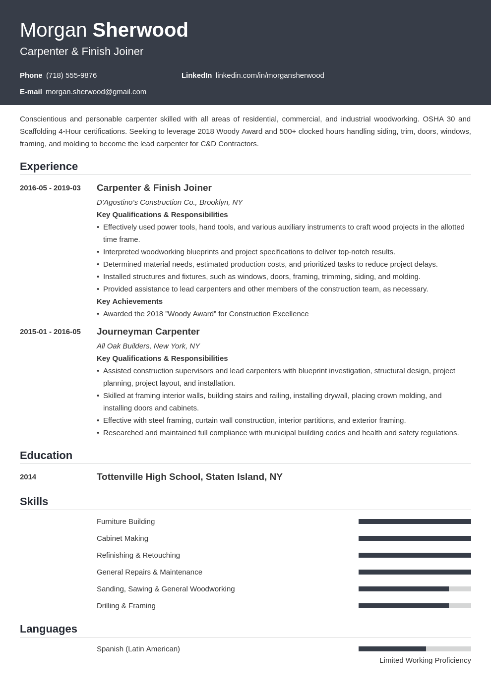 carpenter resume example template influx