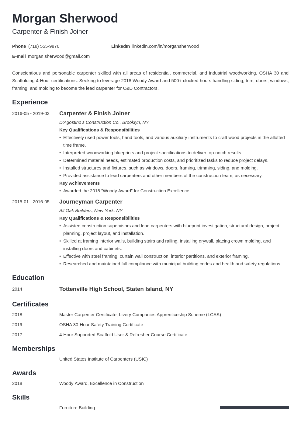 carpenter resume example template minimo
