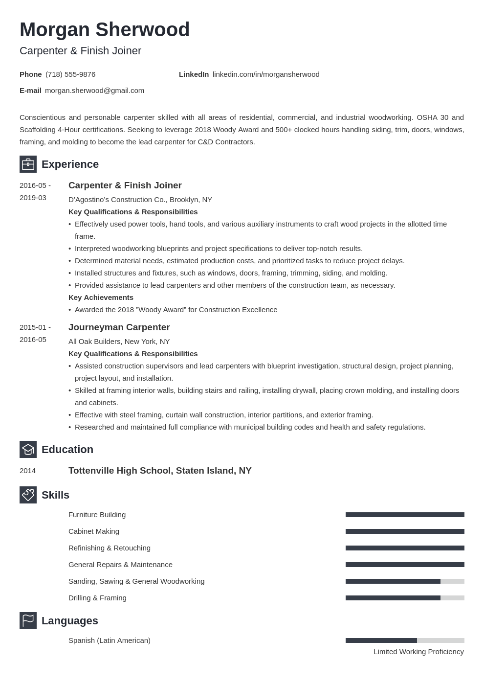 carpenter resume example template newcast