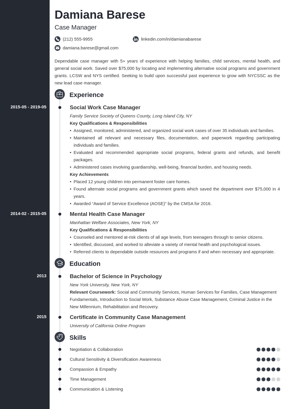 case manager resume example template concept