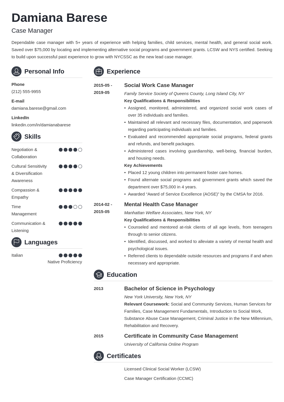 case manager resume example template crisp