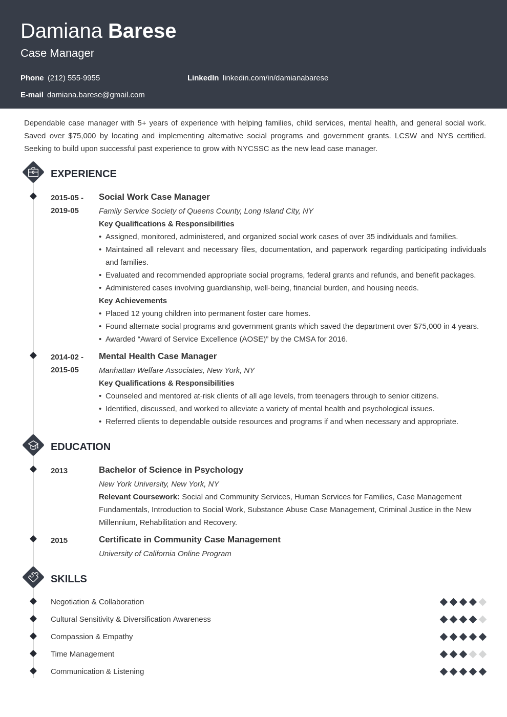 case manager resume example template diamond
