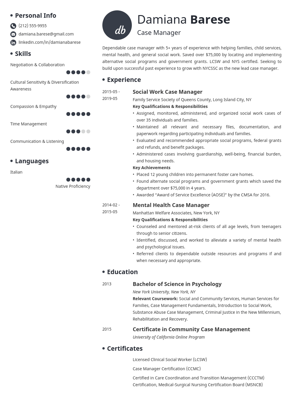case manager resume example template initials