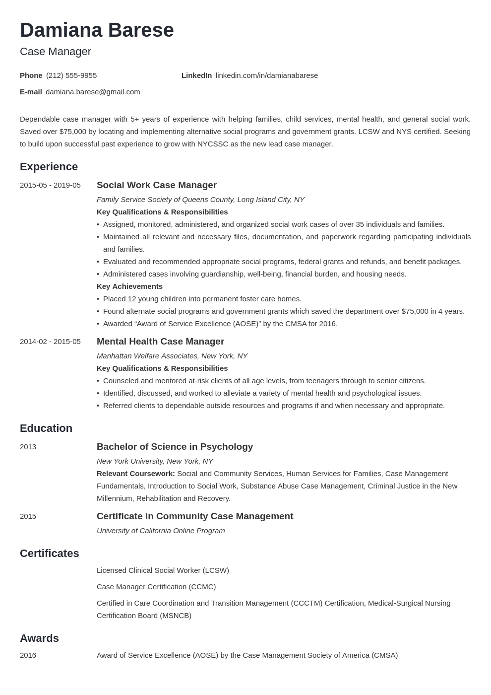 case manager resume example template minimo