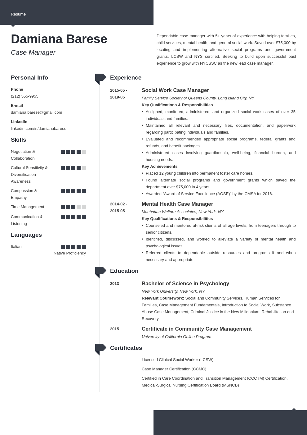 case manager resume example template modern