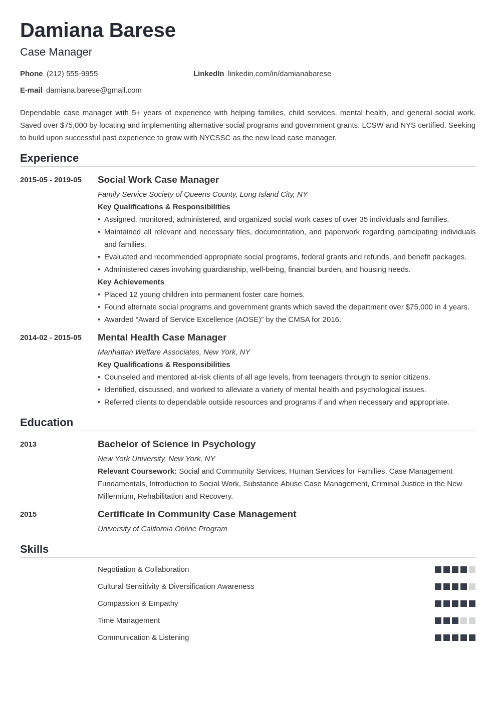 case manager resume example template nanica