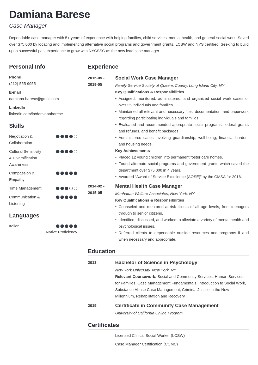 case manager resume example template simple