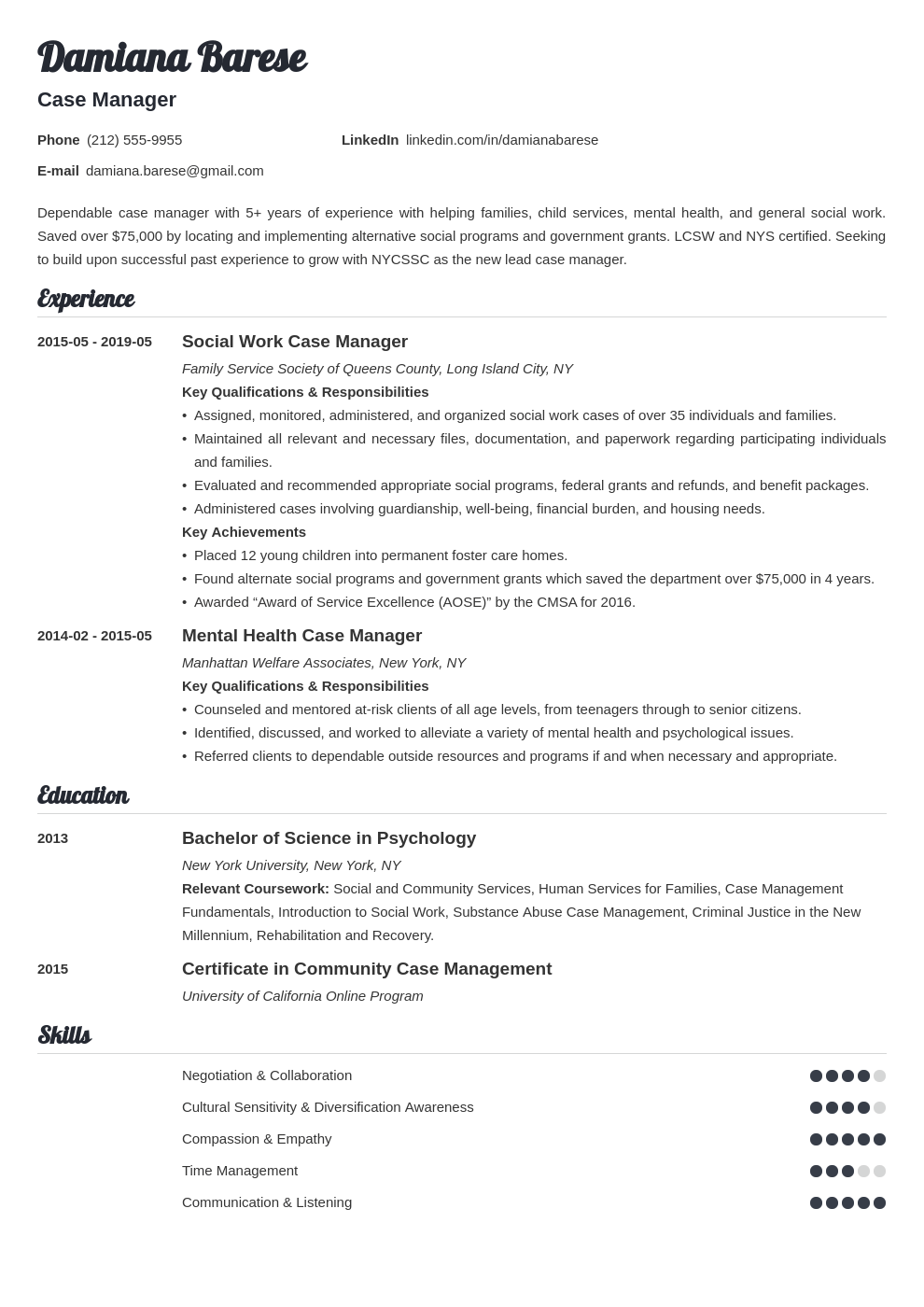 case manager resume example template valera