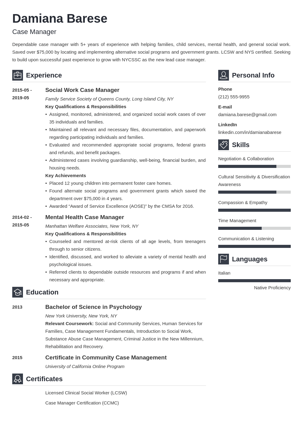 case manager resume example template vibes