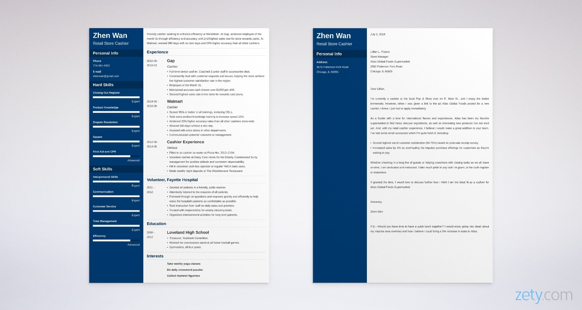 cashier resume and cover letter set