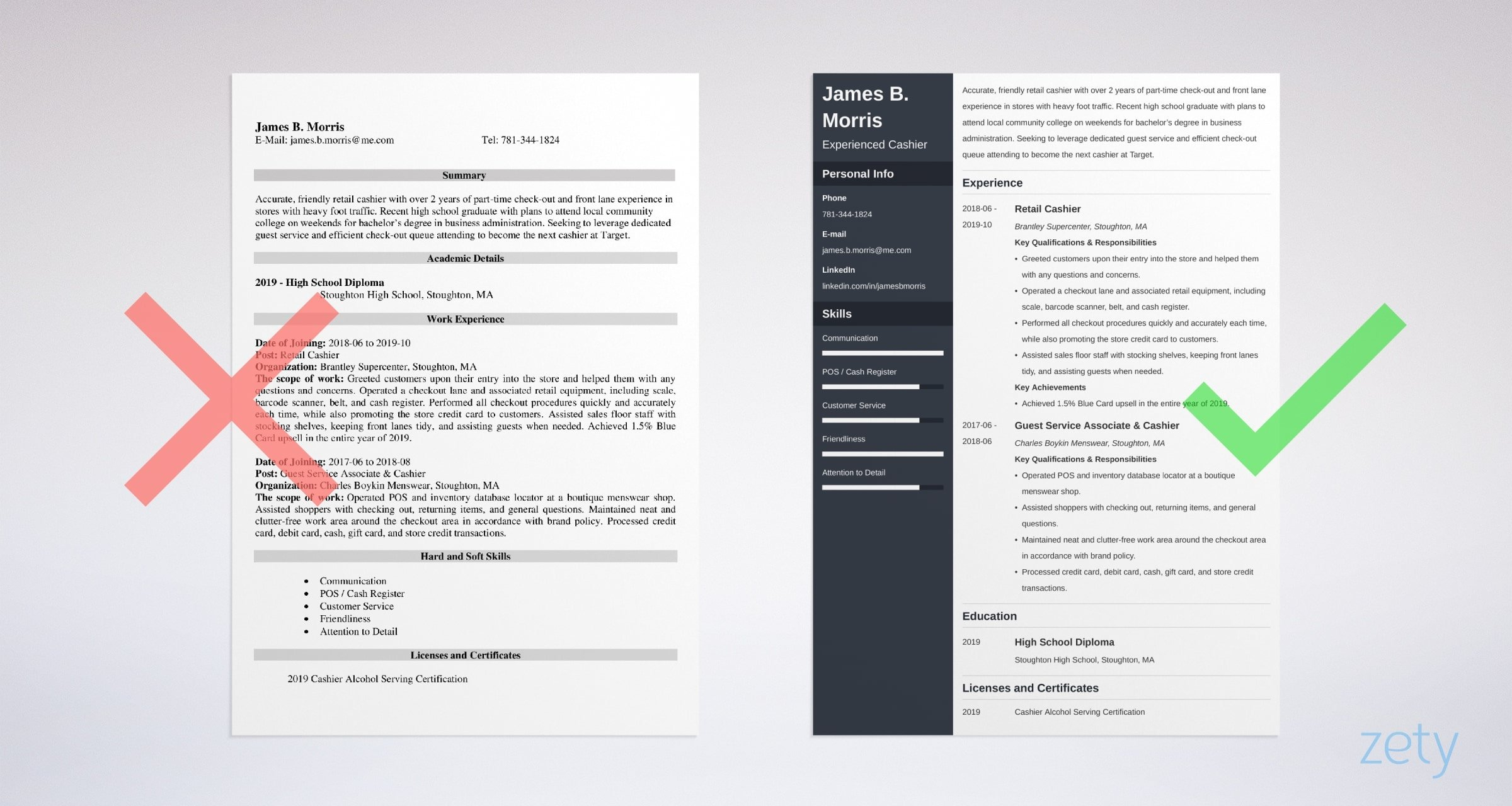 cashier resume examples  sample with skills  u0026 tips