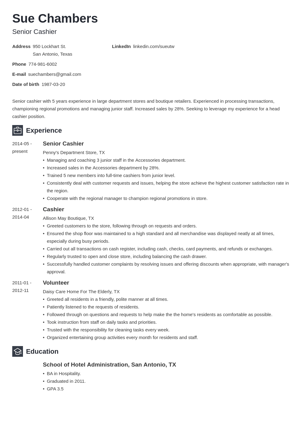 cashier resume template newcast