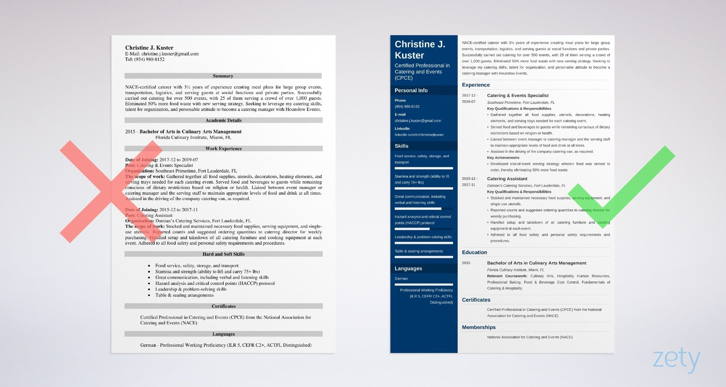 catering resume templates