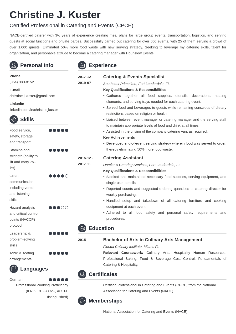 catering resume example template crisp