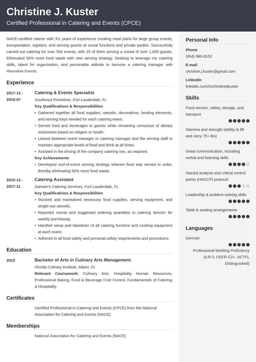 catering resume example template cubic