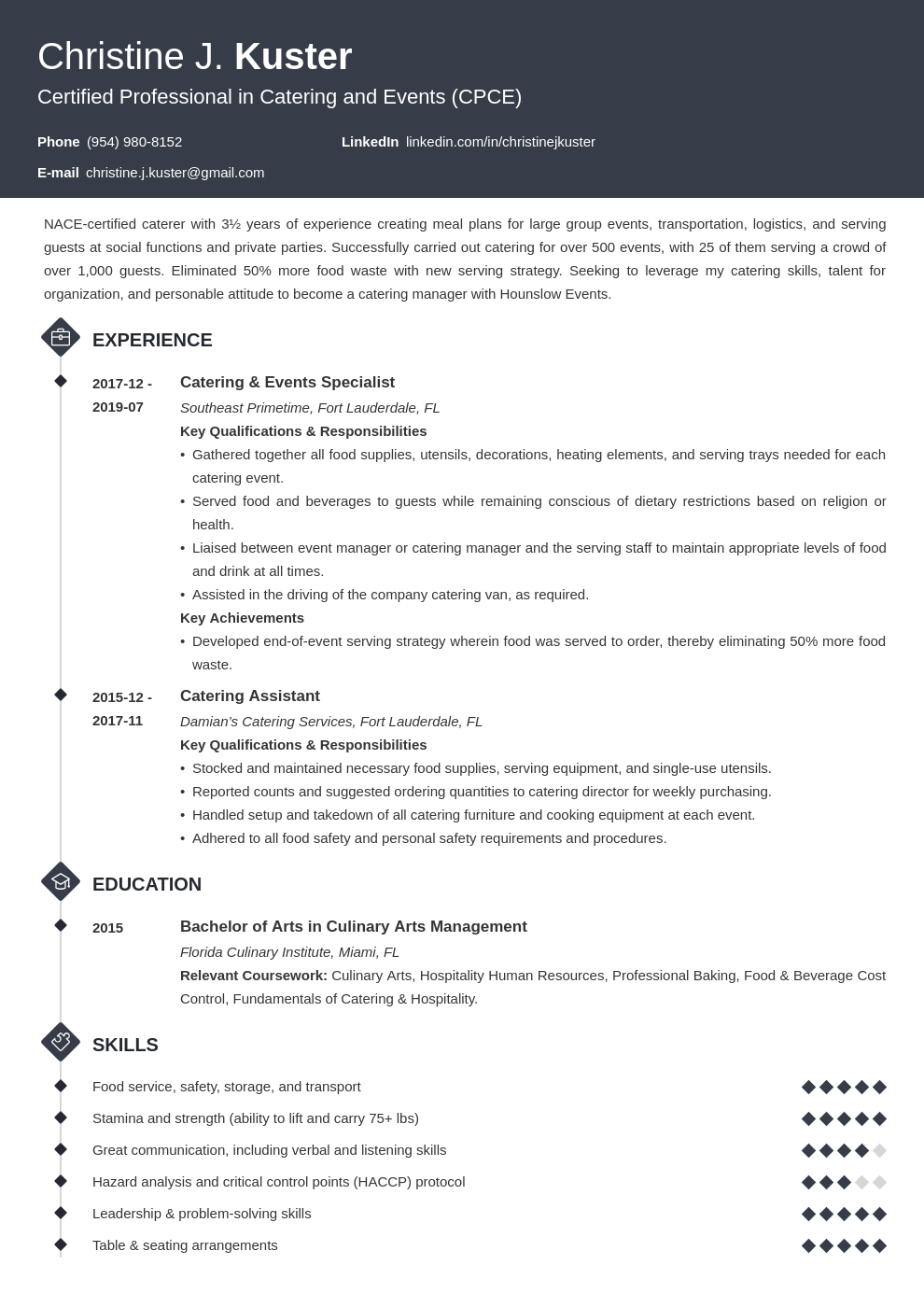 catering resume example template diamond