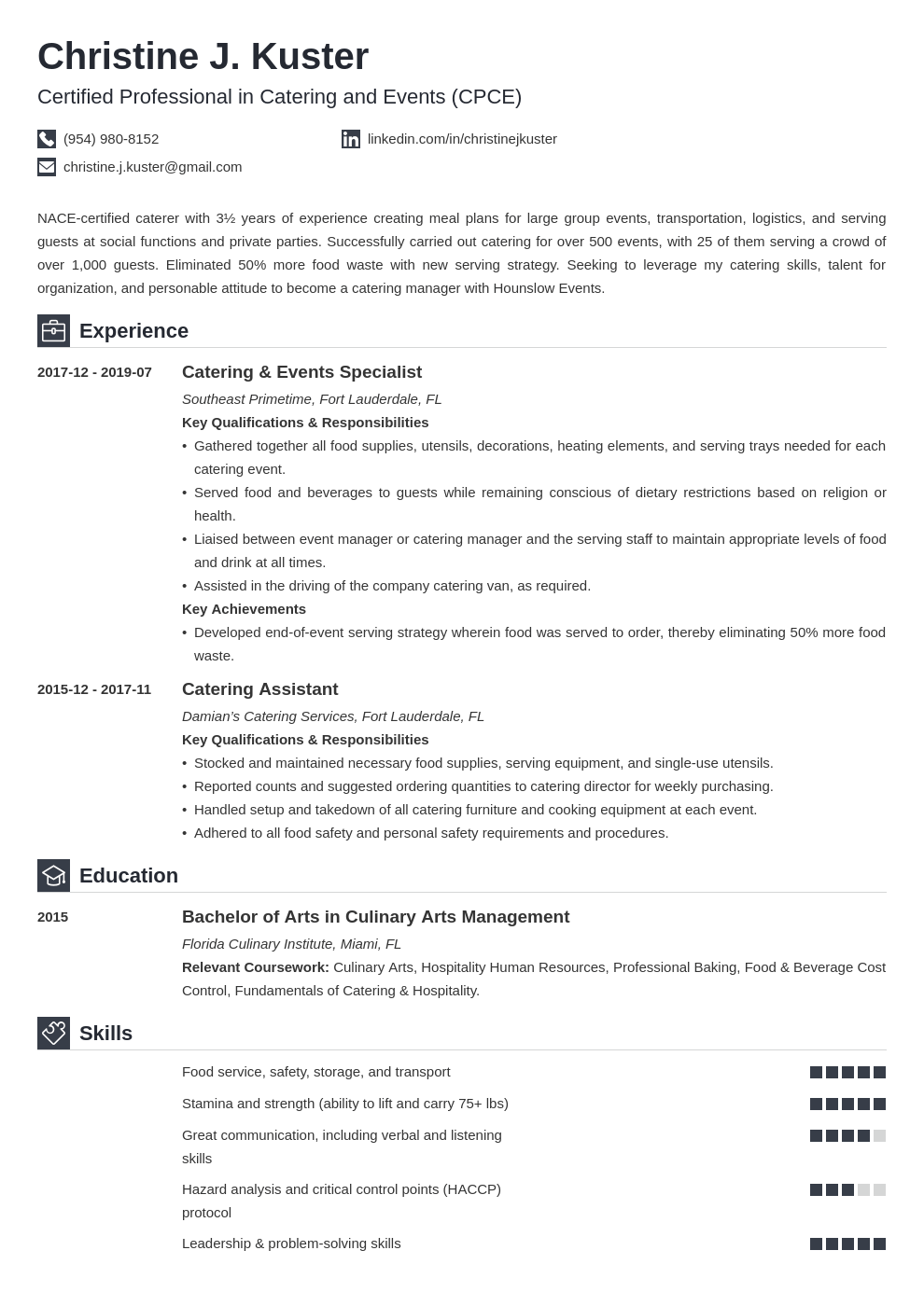 catering resume example template iconic
