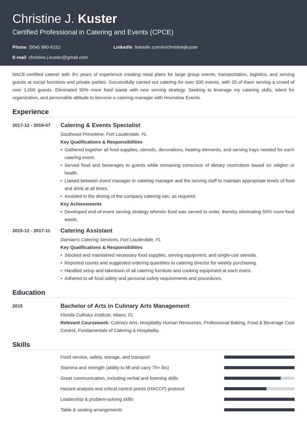 catering resume example template influx