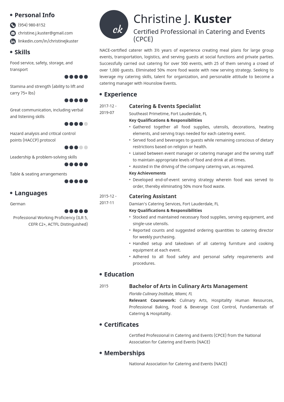 catering resume example template initials