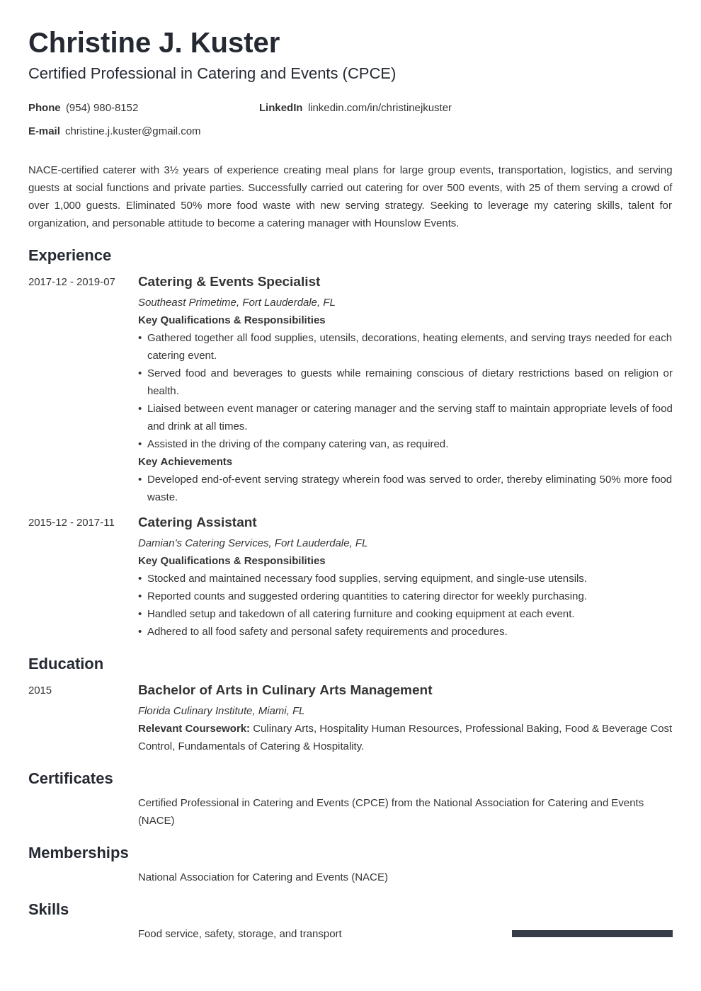 catering resume example template minimo