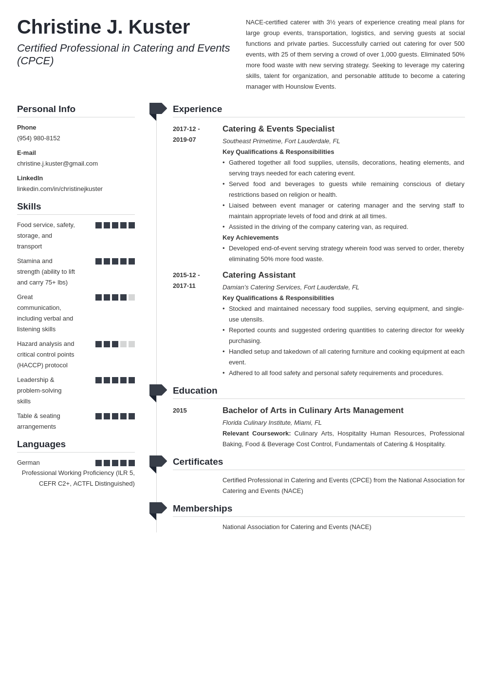 catering resume example template muse