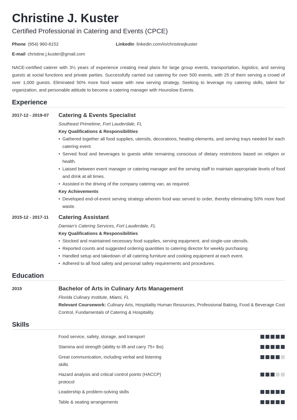 catering resume example template nanica
