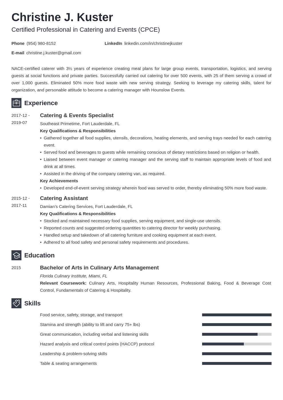 catering resume example template newcast