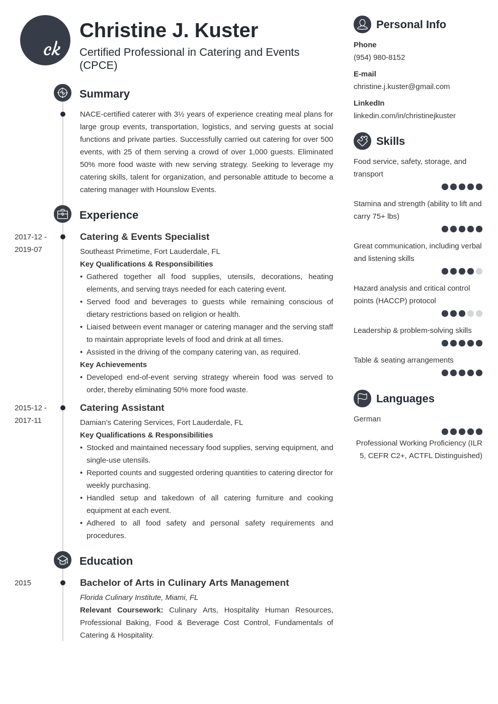 catering resume example template primo