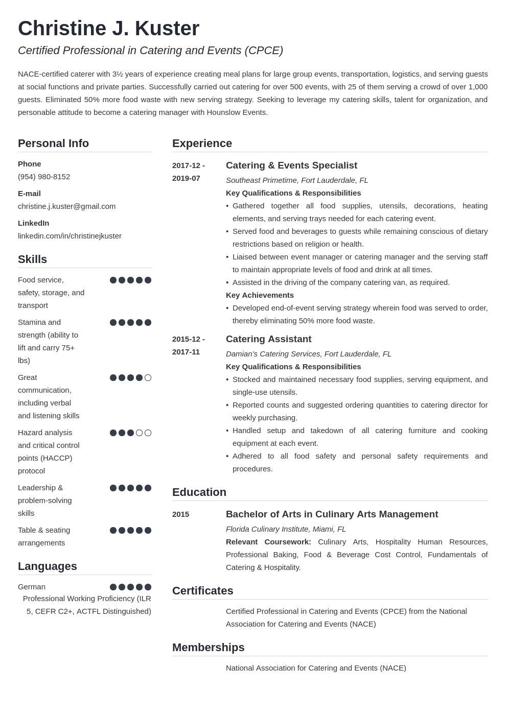 catering resume example template simple