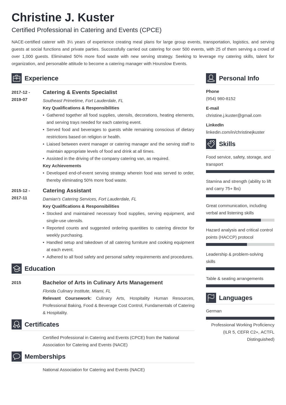 catering resume example template vibes