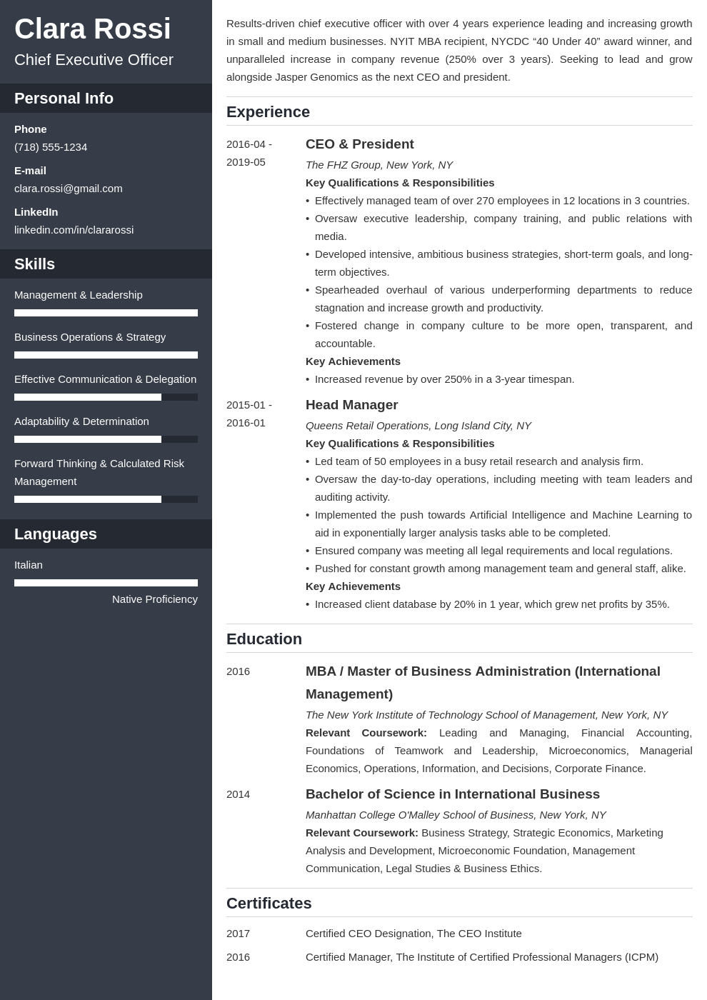ceo resume example template cascade