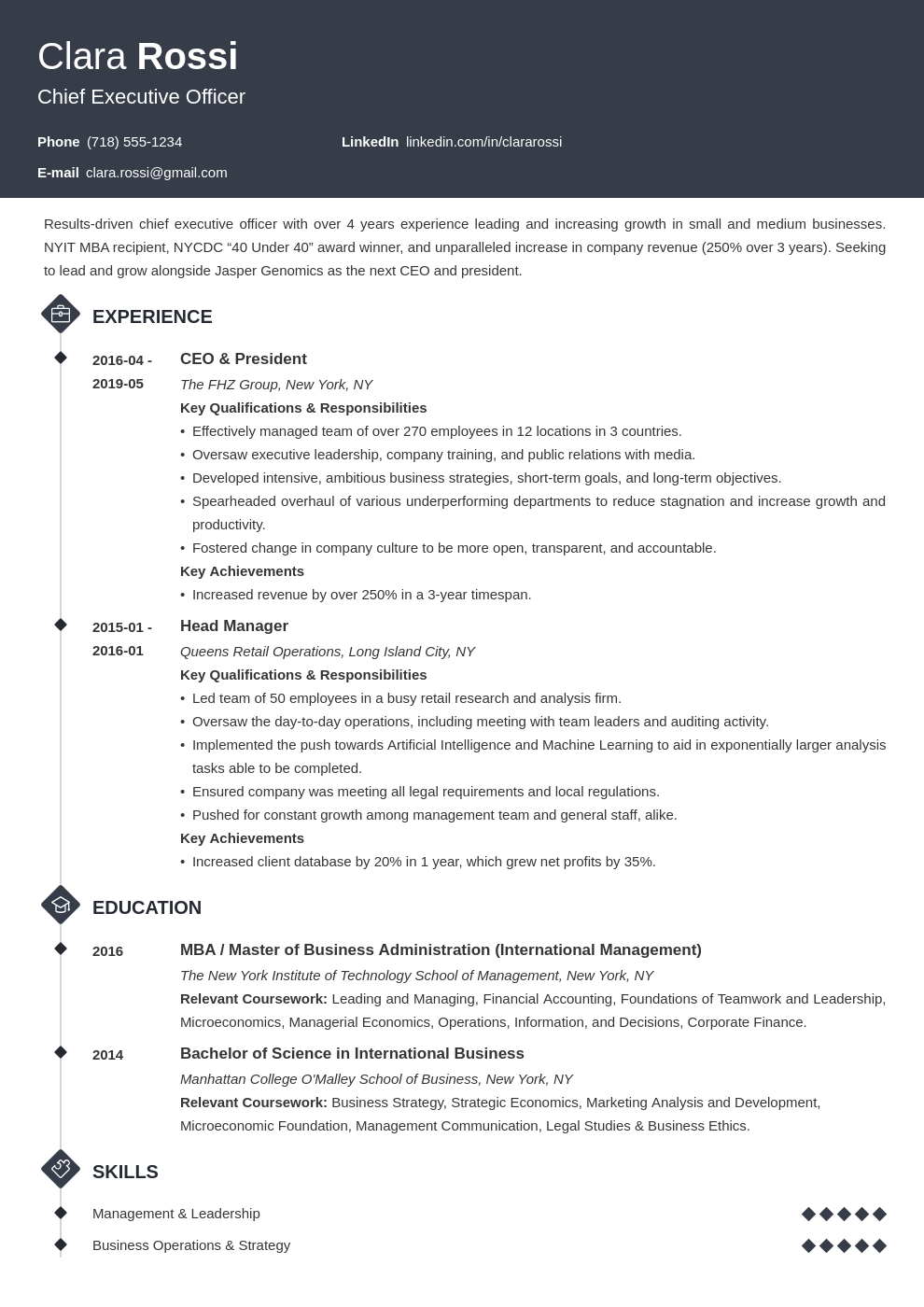 ceo resume example template diamond