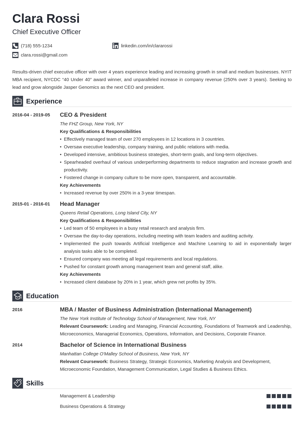 ceo resume example template iconic