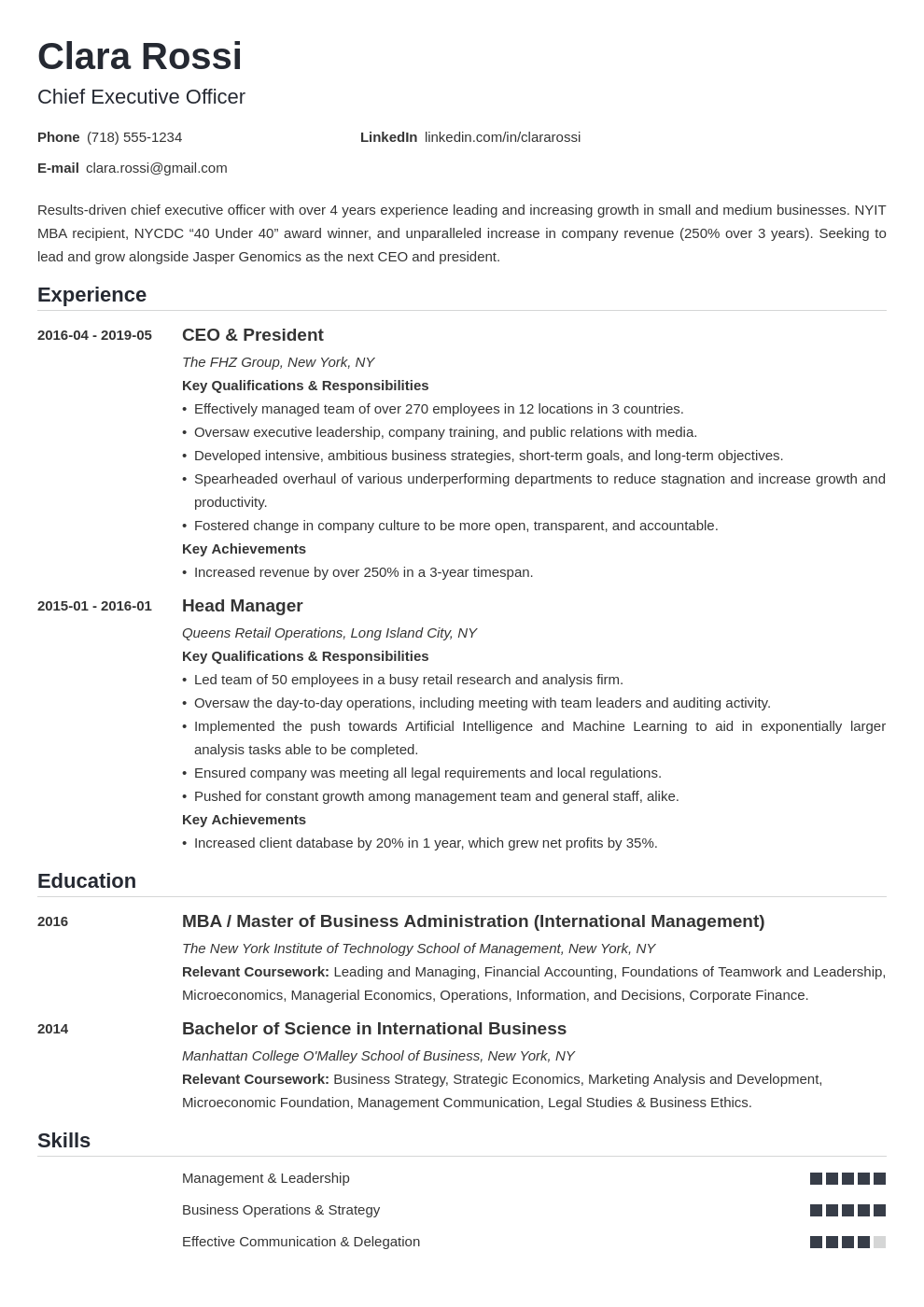 ceo resume example template nanica