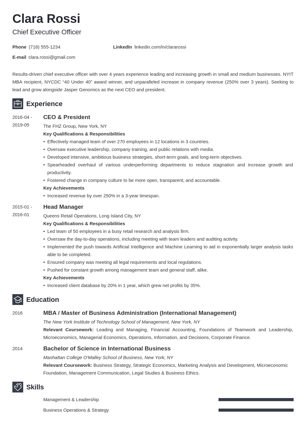 ceo resume example template newcast