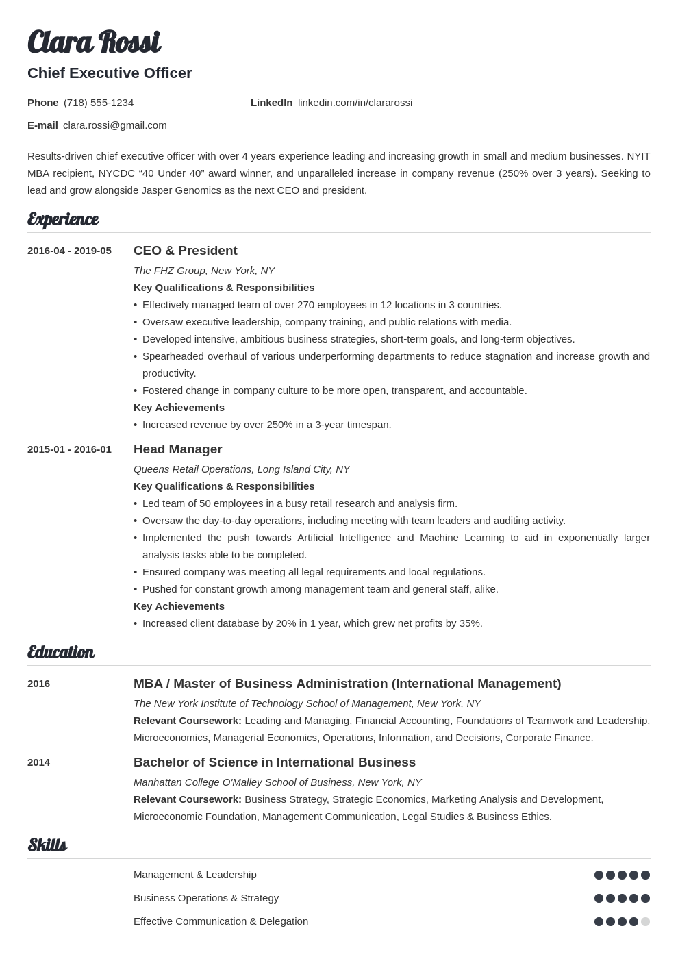 ceo resume example template valera