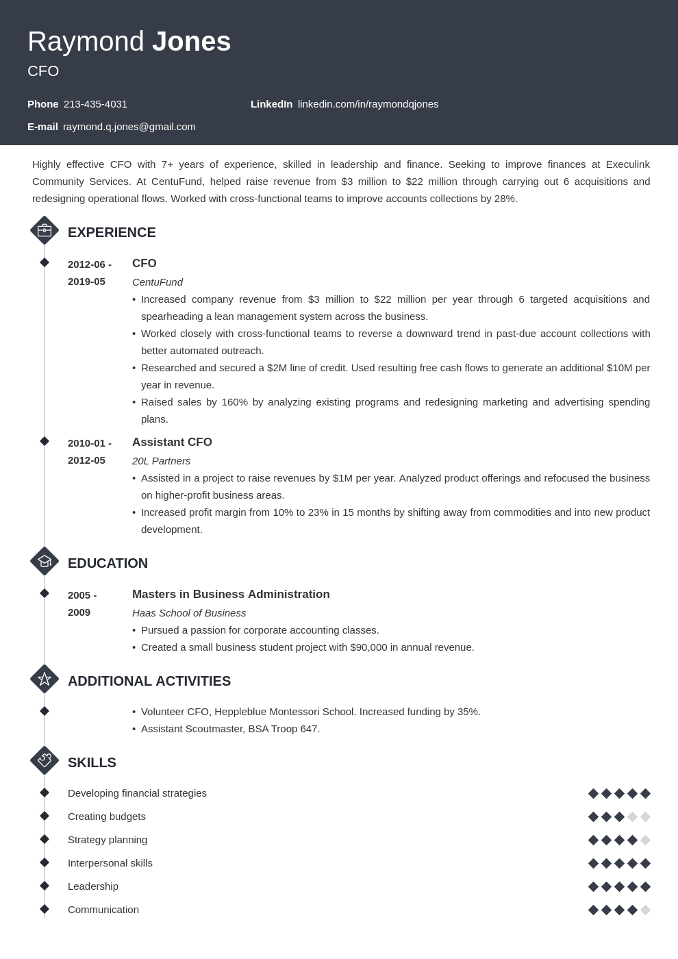 cfo resume example template diamond