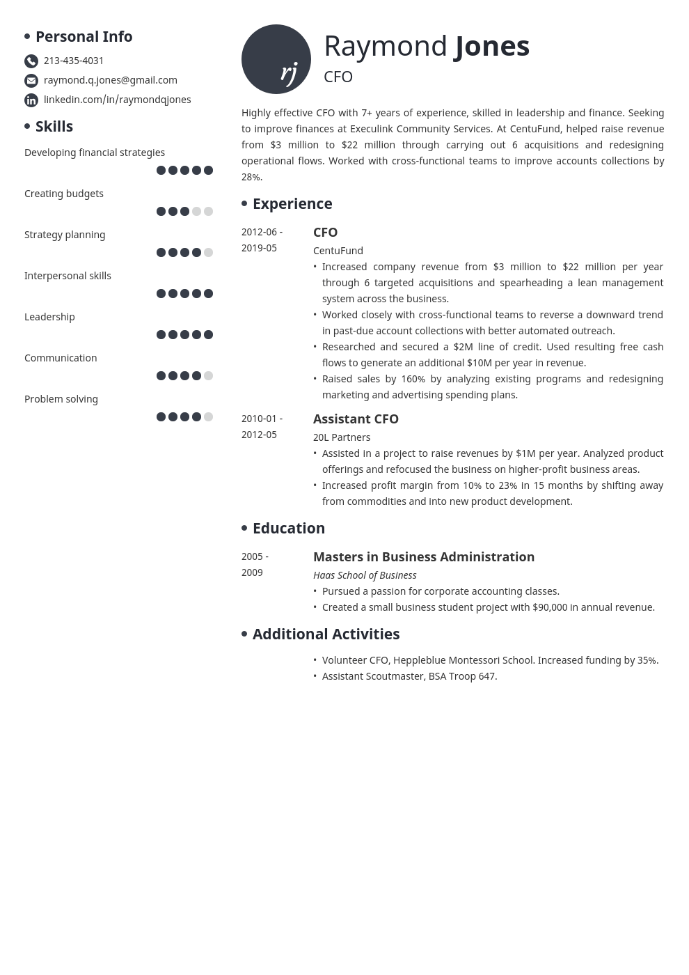 cfo resume example template initials